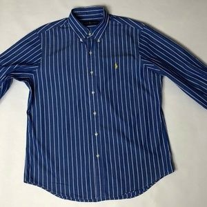 Ralph Lauren Button Down Blue White Strippes Mens